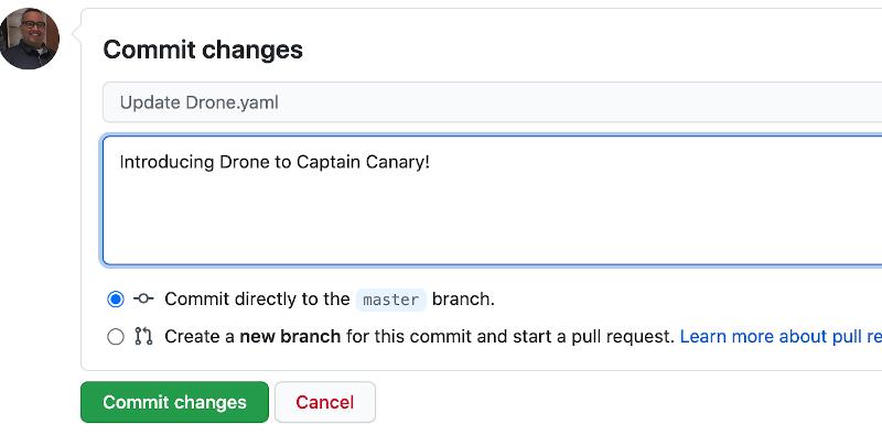 screenshot of commit change on GitHub