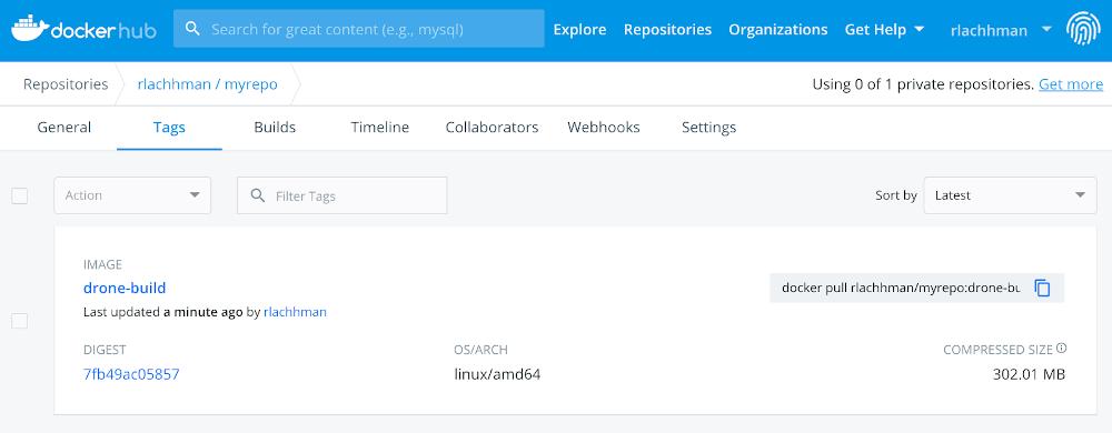 screenshot of docker hub showing the successful build