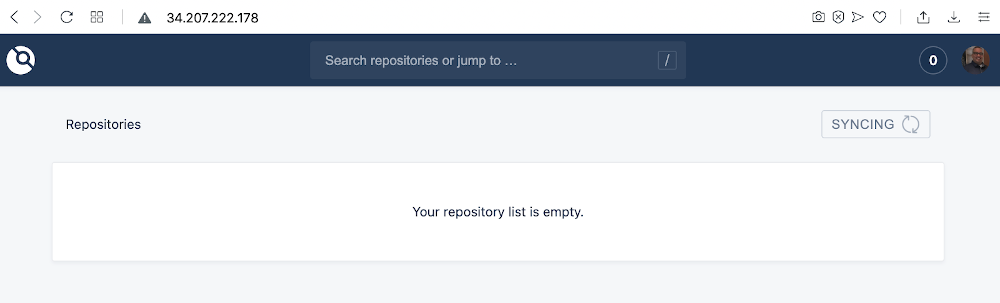 screenshot of an empty repo list