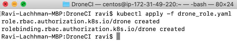 screenshot of command line run code kubectl apply -f drone_role.yaml