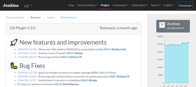 Print screen of the Jenkins release page