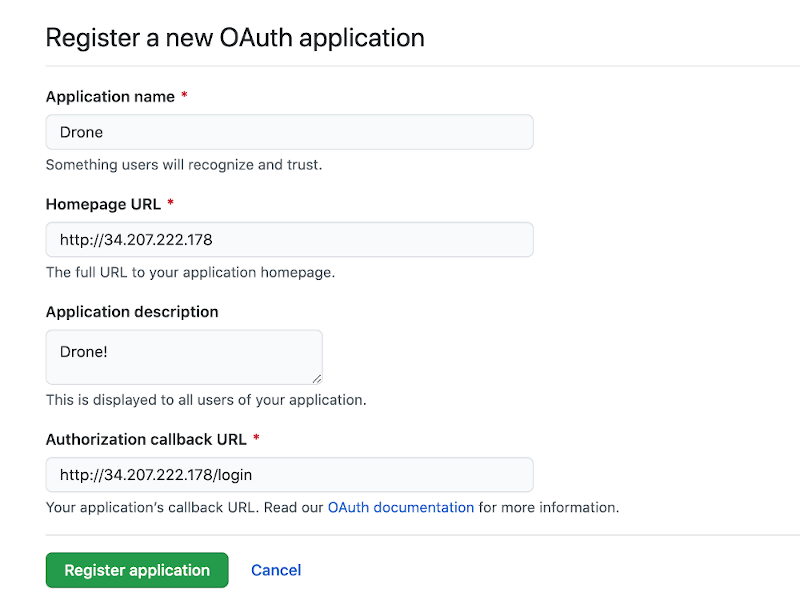 Screenshot of the filled in OAuth application form