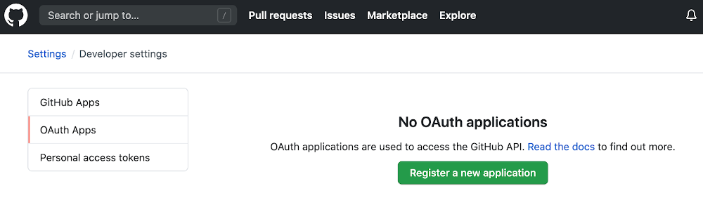 screenshot of the No OAuth applications page