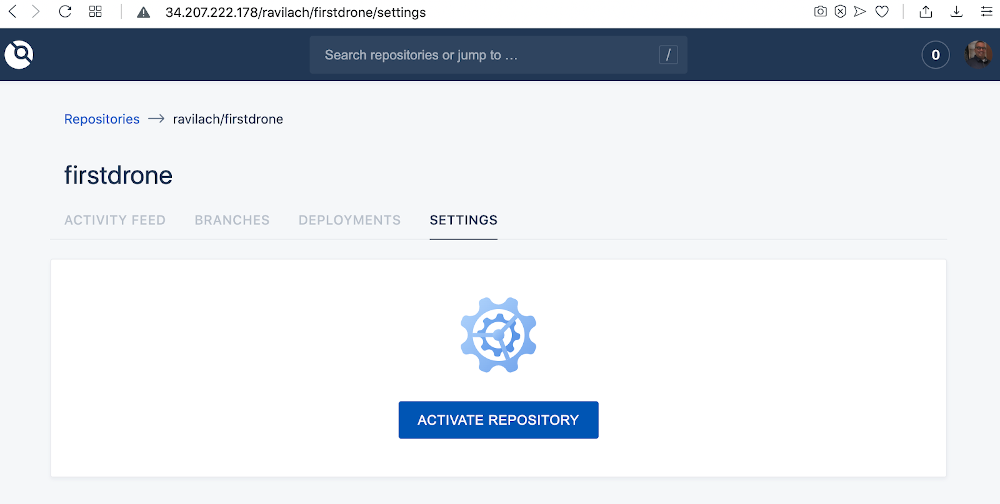 screenshot of the repo drone settings page