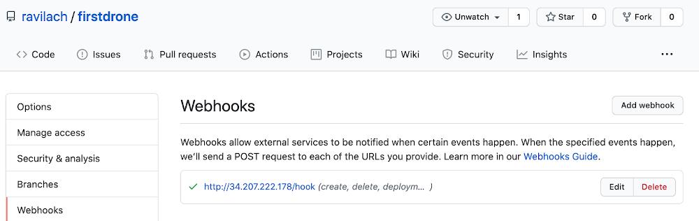 screenshot of GitHub webhooks page with new hook