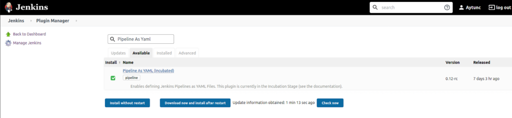 Screenshot of the pipeline as YAML plugin search in the Jenkins Plugin Manager