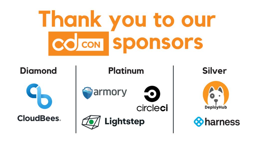 cdcon sponsor logos: cloudbees, armory, circleci, lightstep, deployhub, and harness