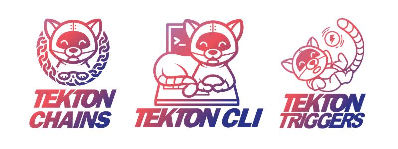 new tekton logos for: tekton chains, cli and triggers