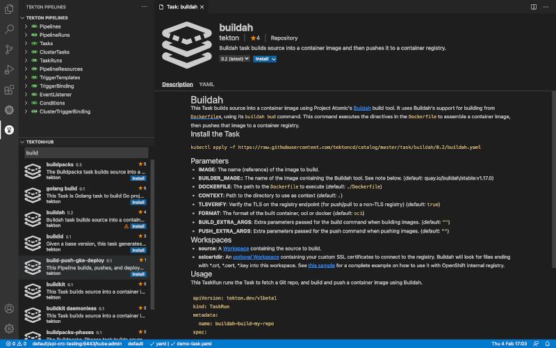 Buildah tekton screenshot
