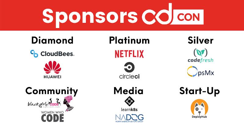 cdcon 2021 sponsors: cloudbees, huawei, netflix, circleci, codefresh, opsmx, black girls code, women who code, she code africa, leark8s, nadog, deployhub