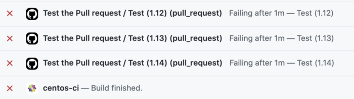 failed pull requests tests